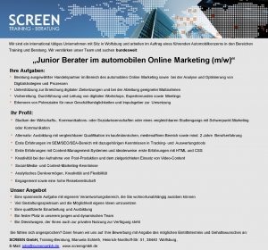 Junior Berater automobiles Onlinemarketing